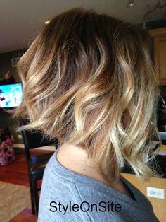 baby lights, fallen highlights, natural blonde, inverted bob, angled bob, balyage, hair color