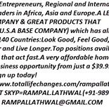 Wanted Entrepreneurs, Regional and International Team Leaders in Africa, Asia and Europe.