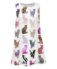 White Cat Sublimation Shift Dress - Toddler & Girls