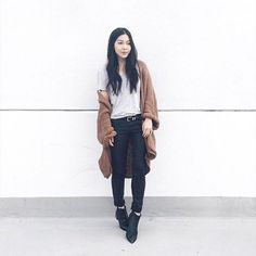 A fashion look by LookMazing featuring Topshop Light Knit Cardigan, Helmut Lang Ankle Skinny Jean, Acne Studios Jensen Boot. Browse and shop related looks. Closet Essentials, Sweater Weather, Knit Cardigan, Cool Outfits, Topshop, Fashion Looks, Hipster, Normcore, Skinny Jeans