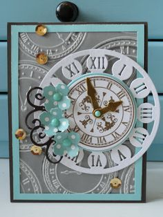 "Colorful Cornélie: Mutual challenge ""at Grandma Dee"" - love the clock face"