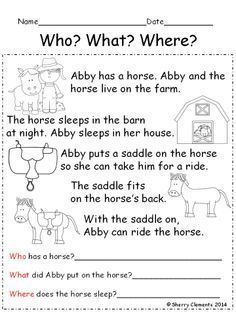 Reading Comprehension: Who? 15 stories with questions - Fun short… Reading Comprehension Worksheets, Reading Fluency, Kindergarten Reading, Reading Strategies, Reading Skills, Teaching Reading, Reading Groups, Guided Reading, Learning