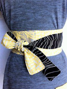 Reversible Handmade Obi belt in Grey Yellow and Black by LarkyPark, $25.00
