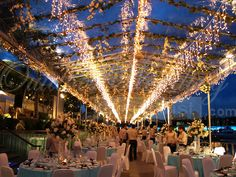 Gorgeous wedding with transparent tentage and fairy lights by keppel bay.