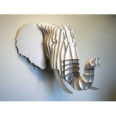 Tête d'éléphant en carton grand modèle - Blanc - Fleux'