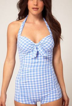 'Retro Vintage Inspired One Piece Bathing Suit Baby Blue and White Plaid pattern ..so cute!!!