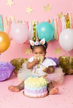 Unicorn cake smash 1st birthday cake smash Long Island photography