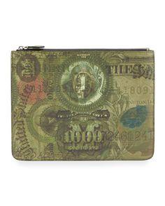 Money-Print PVC Pouch, Olive