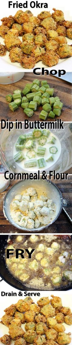Fried Okra Recipe //other says: Yumm! In Oklahoma, we also add in chopped onions, tomatoes and potatoes. All covered in a crispy cornmeal coating. Okra Recipes, Vegetable Recipes, New Recipes, Vegetarian Recipes, Cooking Recipes, Healthy Recipes, Recipies, Easy Recipes, Vegetarian Appetizers