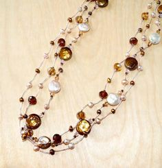 Pink & Brown Coin Pearl Necklace with Crystal Accents