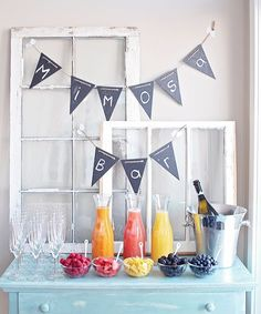 Baby shower ideas for girls brunch mimosa bar 27 ideas Cadeau Baby Shower, Idee Baby Shower, Baby Shower Drinks, Baby Shower Brunch, Shower Party, Bridal Shower, Shower Gifts, Girl Baby Shower Decorations, Baby Shower Themes