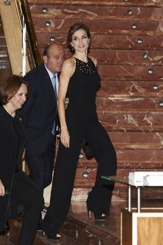 Pin for Later: 44 Times Queen Letizia of Spain Made The Fashion World Bow Down When She Wore a Sleek Black Jumpsuit Letizia wore a black jumpsuit to a concert in 2015.