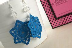 Electric Blue Star Crochet Earrings by BizarreAccessories on Etsy, €14.00