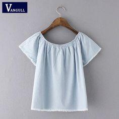 Summer Denim Blouse Shirt Flare Sleeve Slash Neck Short Sleeve Jeans Peplum Shirts Short Tencel Denim Tops Casual Clothing