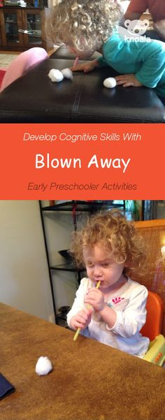 Knoala Early Preschooler Activity: 'Blown Away' helps little ones develop Cognitive and Sensory skills. *What an great collection of no-prep activities for kids! Cognitive Development Activities, Physical Development, Child Development, Toddler Learning, Toddler Fun, Teaching Kids, Preschool Science, Science Activities, Activities For Kids