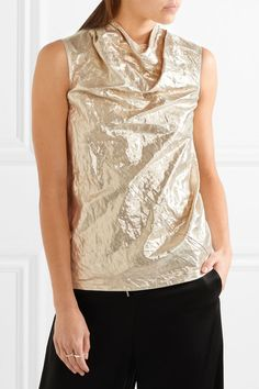Silver cotton-blend lamé Zip fastening along back 71% cotton, 15% Lurex, 14% metallic fiber Dry clean Made in Italy