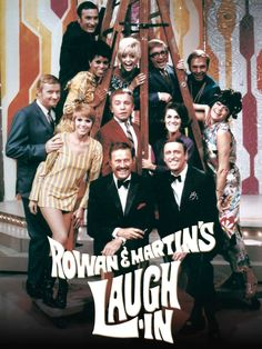 """""""Rowan & Martin's Laugh-In"""" season two promo still, 1968.  Front row (L to R):  Dan Rowan, Dick Martin. Second row (L to R): Judy Carne, Henry Gibson, Ruth Buzzi, Jo Anne Worley. Third row (L to R): Dave Madden, Chelsea Brown, Goldie Hawn, Arte Johnson, Alan Sues. Top row: Dick """"Sweet Brother"""" Whittington."""