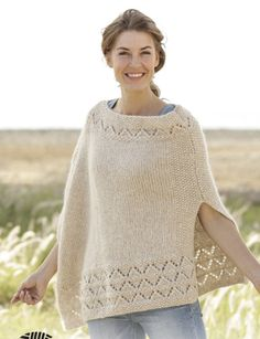 Knitting Patterns Poncho So Classy! / DROPS - Knitted DROPS Poncho in Air with lace pattern and pearl pattern. Poncho Knitting Patterns, Knit Patterns, Free Knitting, Knitted Poncho, Knitted Shawls, Alpaca Poncho, Cozy Knit, Poncho Sweater, Drops Design