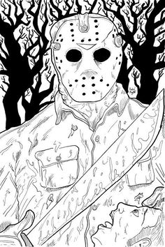 20 Best Jason Voorhees Coloring Pages - Best Coloring Pages Inspiration and Ideas Scary Halloween Coloring Pages, Scary Coloring Pages, Skull Coloring Pages, Coloring Pages For Grown Ups, Free Adult Coloring Pages, Coloring Book Art, Coloring Pages To Print, Colouring Pages, Printable Coloring Pages