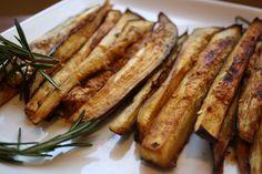"#MeatlessMonday Miso-glazed Eggplant ""fries"" a la Running on Veggies"