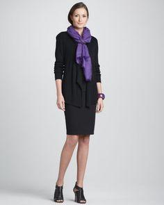 Cardigan, Silk Jersey Long Camisole, Herringbone Wool/Silk Scarf & Knee-Length Pencil Skirt