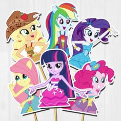 My Little Pony Equestria Cupcake toppers Equestria Girls / Equestria Girls, My Little Pony Equestria, Mlp My Little Pony, My Little Pony Birthday Party, 6th Birthday Parties, My Little Pony Stickers, Raimbow Dash, Imagenes My Little Pony, Girl Cupcakes