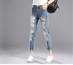 e7e60ffb8e top design relax ripped broken lady denim jeans plus size high waist nine  harem pants for women stock Alibaba Manufacturer Directory - Suppliers, ...