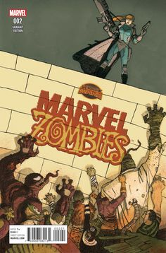 MARVEL ZOMBIES #2. Marvel Comics. Written by Simon Spurrier, illustrated by Kev Walker, and features a regular cover by Ken Lashley and Paul Mounts, and a variant cover by Gabriel Hernandez Walta. This is the variant cover. Released July 22, 2015.