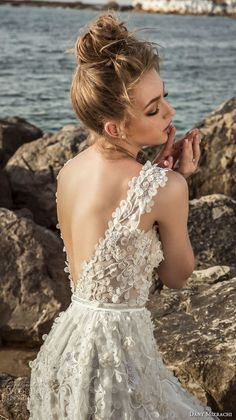 danny mizrachi 2018 bridal sleeveless jewel sweetheart neck full embellishment romantic wedding dress open back (22) bv -- Dany Mizrachi 2018 Wedding Dresses
