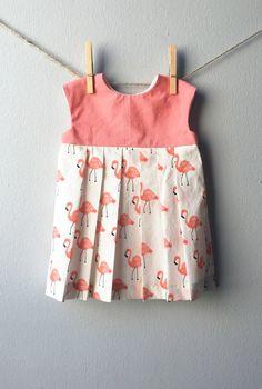 Handmade Flamingo Print Pleated Dress | SqueakersandTots on Etsy