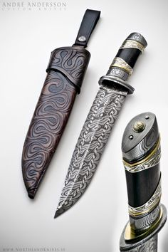 Nordic Bowie from Andre Andersson Custom Damascus Knives - Knives, Daggers, Swords and Artknives from Sweden