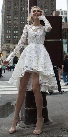 inbal dror 2016 bateau neck long bell sleeve lace ball gown short high low wedding dress / http://www.himisspuff.com/high-low-wedding-dresses/