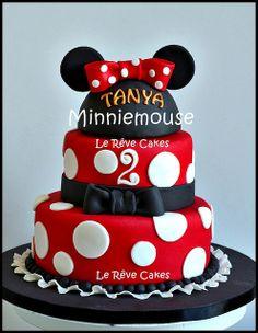 Minnie Mouse Cake @Lauren Davison Davison Davison Phillips I have a ball cake pan if you want to go this route.
