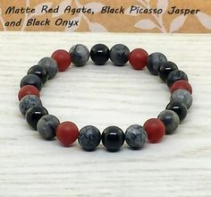 ~ Bracelets by Karen ~ Matte Red Agate, Black Picasso Jasper and Black Onyx