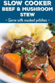 This hearty slow cooker beef and mushroom stew is so quick to put together, and it makes the perfect dinner for a cold winter's evening. Simply add some boiled or mash potatoes and green vegetables on the side for an easy meal without fuss. Slow Cooker Beef, Slow Cooker Recipes, Crockpot Recipes, Soup Recipes, Easy Dinner Recipes, Easy Meals, Dinner Ideas, Crockpot Mushrooms, Beef And Mushroom Stew