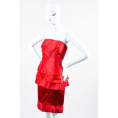 Pre-Owned Vintage Gianni Versace Red Satin Tiered Ruffle Strapless... ($115) ❤ liked on Polyvore featuring dresses, red, sexy cocktail dresses, white corset, sexy white cocktail dresses, sexy white dresses and vintage cocktail dresses