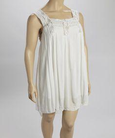 Look at this #zulilyfind! White Lace-Yoke Dress - Plus by Nolita #zulilyfinds