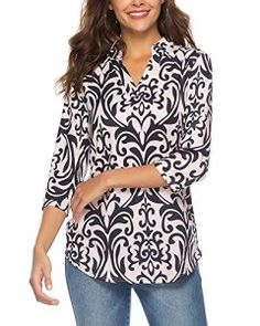 c7108272644acb CEASIKERY Womens 3 4 Sleeve Floral V Neck Tops Casual Tunic Blouse Loose  Shirt