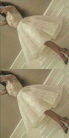 short prom dresses, white homecoming dresses,o-neck evening dress,51902