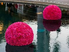 Floating Flower Balls for a destination wedding in Jamaica