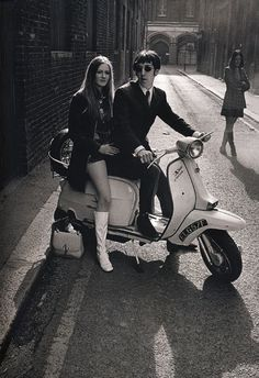 Sixties chic ...mod, hush puppies, mini-skirt, white boots, Lambretta SX 200 I was born at the wrong time.
