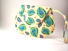 Small Yellow Clutch Purse with Blue and Green Leaves and Wrist Strap #etsyshopowner #etsybot