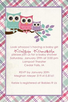 Owl sayings for baby baby shower invitation wording baby shower invitation for the shower solutioingenieria Choice Image
