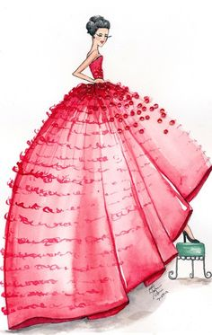red couture gown watercolor illustration