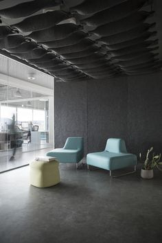 The all New FeltCeiling and FeltRoll from Rom & Tonik. A modular modern and open acoustically superb solution from wool. Sound Proofing, Chair, Modern, Table, Projects, Ceilings, Acoustic, Furniture, Home Decor
