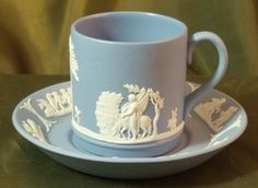 Wedgwood Light Blue Jasper Ware Demitasse Cups & Saucers from . Coffee Cups And Saucers, Cup And Saucer, Tea Cups, Dumpster Diving, Tea Art, Wedgwood, Fine China, Tea Time, Jasper