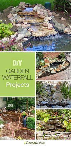 DIY Garden Waterfalls Ideas Tutorials - I can't believe my husband doesn't want… Diy Garden, Dream Garden, Lawn And Garden, Garden Landscaping, Balcony Garden, Landscaping Ideas, Garden Art, Waterfall Project, Garden Waterfall