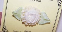 FRENCH RIBBONWORK Revival 100% SILK Ribbon Rose Applique-Cream w/Green Leaves! #Unbranded #AntiqueFrench