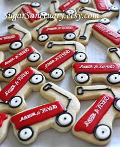 Radio Flyer Red Wagon Sugar Cookie Favors1 Dozen by SugarSanctuary, $36.00