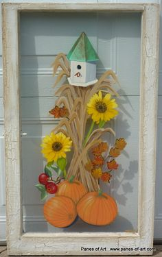 Panes of Art by Michele L. Mueller  Hand painted window art.  Cool mornings and fresh apple pie seem to warm our homes in the fall.  Please visit the website for details regarding price, size, availability, etc.  www.panes-of-art.com